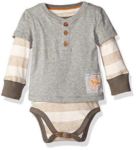 Burt's Bees Baby Boys' Organic Henley 2-Fer Bodysuit, Heather Grey, 6-9 Months