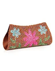 Voylla Voylla Chic Brown Clutch With Pink Blue Floral Bead Work