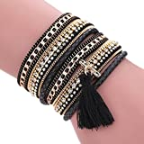 Ikevan Women Bohemian Bracelet Woven Braided Handmade Wrap Cuff Magnetic Clasp (Black)