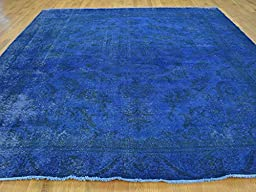 10 x 12 HAND KNOTTED WORN BLUE OVERDYED PERSIAN TABREZ ORIENTAL RUG G23696