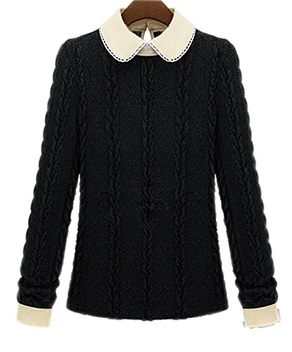 Vwhite Women'S Big Girls Lace Doll Collar Slim Knitted Pullover Sweaters Tops Black Us 4