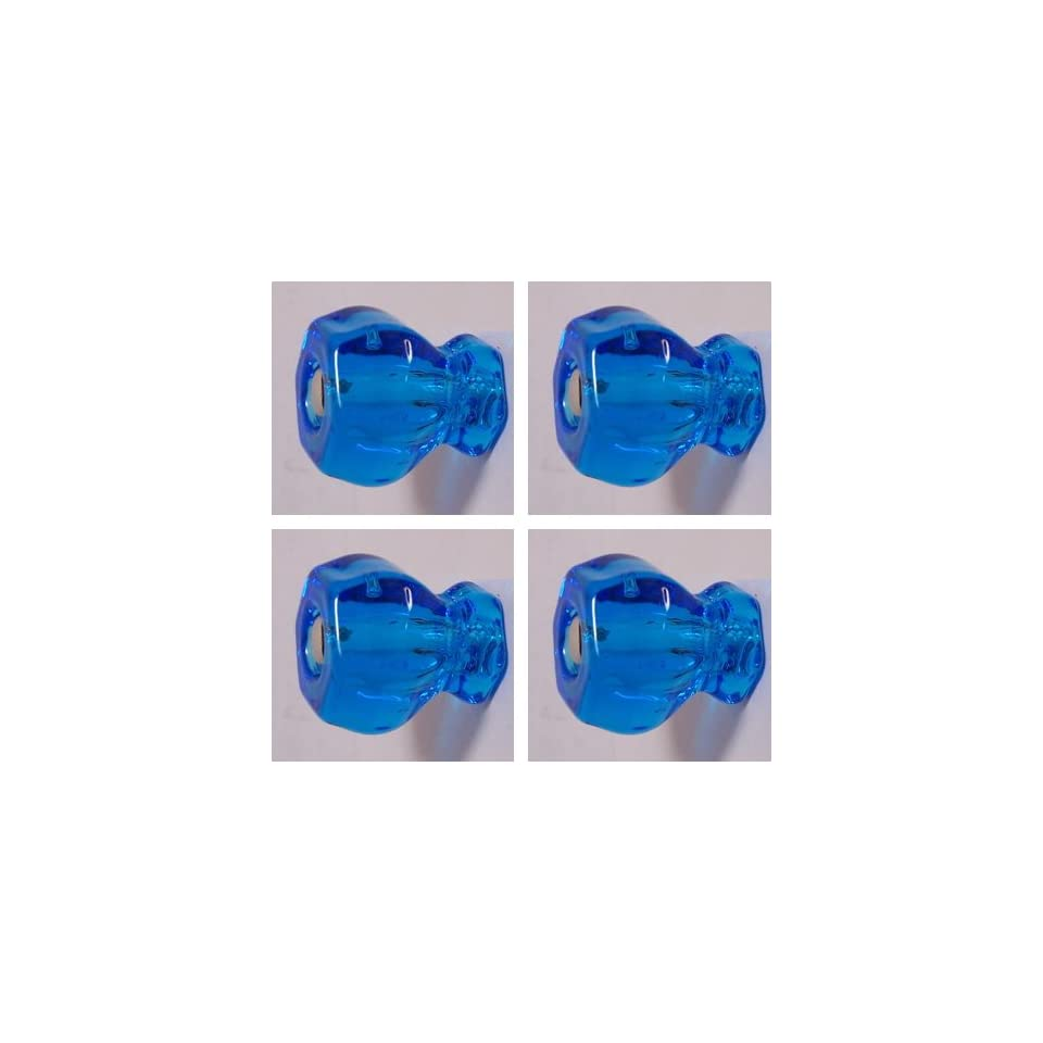 LOTS of Four (4) 1920s Finest Replicas of Depression Crystal Glass Cabinet Knobs, PEACOCK BLUE