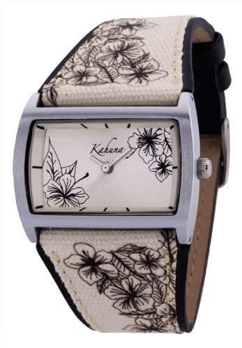 Kahuna Beige Floral Canvas Strap Ladies Watch - AKLS-0173L