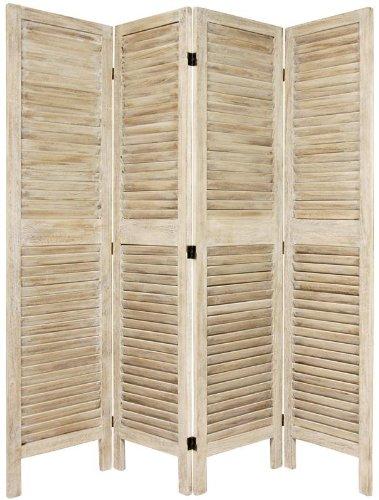 Simple Louvered Door Room Divider - 5.5ft. Classic Venetian Blind Shutter Design Floor Screen Partition - 4 Panels White