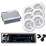 New Kenwood Outdoor Waterproof KMRM312BT ATV Bike Boat Digital USB AUX Radio Stereo w/Bluetooth, 6x 6.5 Inch White Marine Pyle Speakers, 400W Pyle Amp