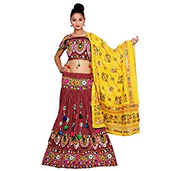 Meroon Lehenga Choli Dupatta Set for Women ( Banjara Dress )