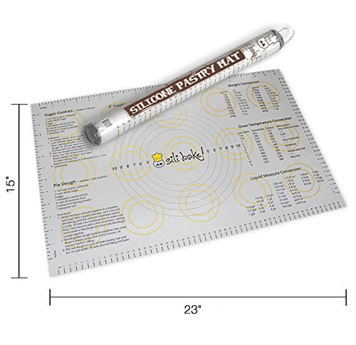 Silicone Large Pastry Mat With Measurements.  14.9