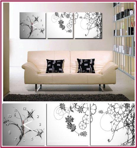 cadres tableau horloge triptyque ensemble floral argent 120 40cm livraison gratuite. Black Bedroom Furniture Sets. Home Design Ideas