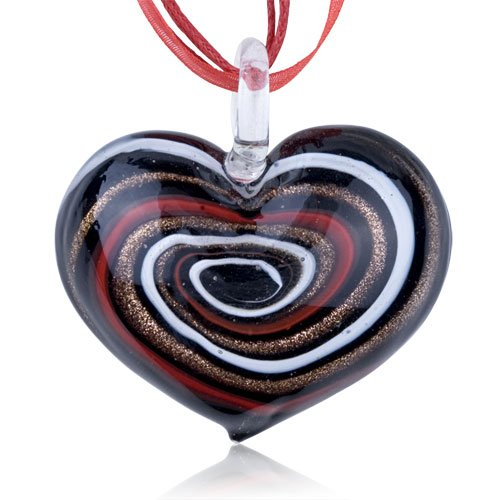 Pugster Murano Glass Sterling Silver Dark Brown Flower Drop Dichroic Pendant Necklace