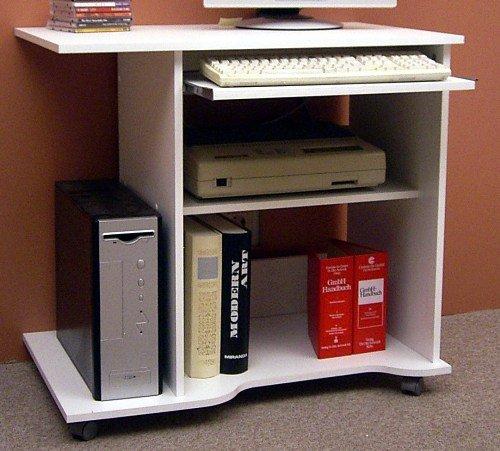 4-4-1679: deutsche Prod. – PC-Tisch – Computertisch – weiss dek. – Schreibtisch – auf Rollen kaufen