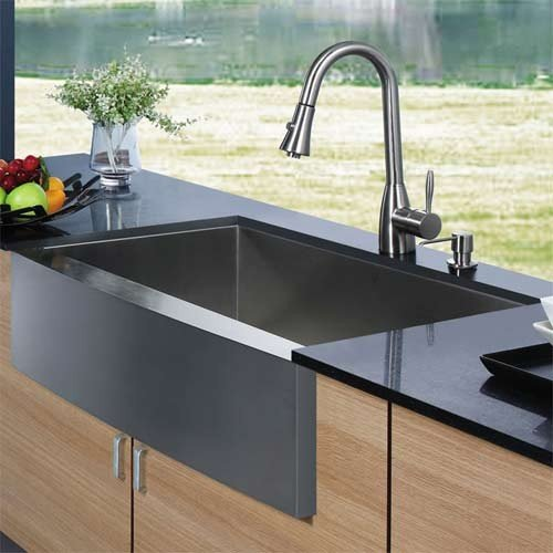 Vigo VG15006--Stainless-Steel Farmhouse Stainless Steel Kitchen Sink Faucet and Dispenser