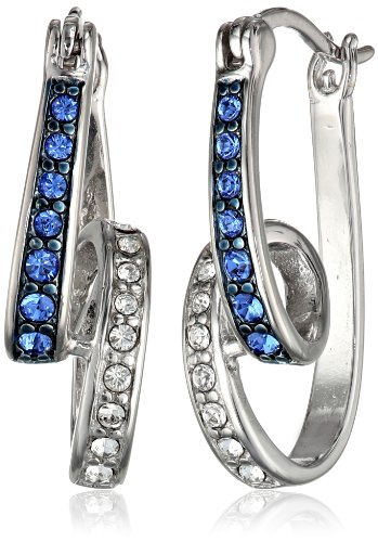 Sterling Silver Blue and White Swarovski Crystal Swirl Hoop Earrings