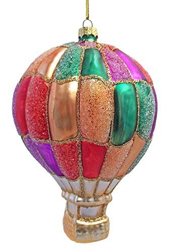 Glittery Multicolor Hot Air Balloon Christmas Ornament
