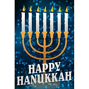 (12x18) Happy Hanukkah Menorah Holiday Indoor/Outdoor ...