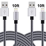 Amoner 2Pack 10FT Lightning Cable Cord Nylon Braided 8 Pin to USB Charging Cable Charger Cord for Apple iPhone SE/6/6s/6 plus/6s plus,5c/5s/5,iPad Air/Mini,iPod Nano/Touch, Compatible with iOS9