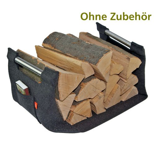 ebos Holzkorb aus Filz für den Kamin Farbe grau
