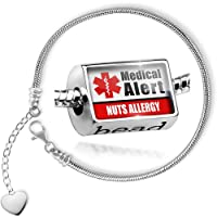 Charm Set Medical Alert Red Nuts Allergy - Bead comes with Bracelet , Neonblond by NEONBLOND