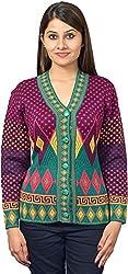 KTC Women's Wool Regular Fit Cardigan (651-V44, Light Burgundy Pink, 38)