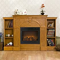 Southern Enterprises FA8518BE Marcus Plantation Oak Electric Fireplace with Bookcases
