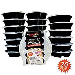 Sabores Plus Round Disposable Food Storage Containers Microwave & Dishwasher Safe, 35oz, Pack of 20 Bento Box BPA Free + 20 Chalkboard Labels