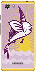 Snoogg Flying Fish At Sea Ocean Square Retro Designer Protective Back Case Co...
