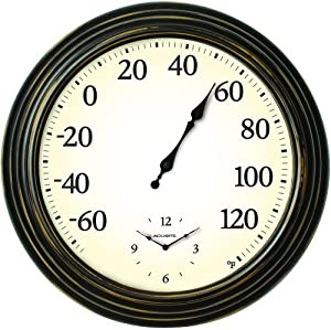 AcuRite 00780 16-Inch Indoor/Outdoor Thermometer and Clock Combo