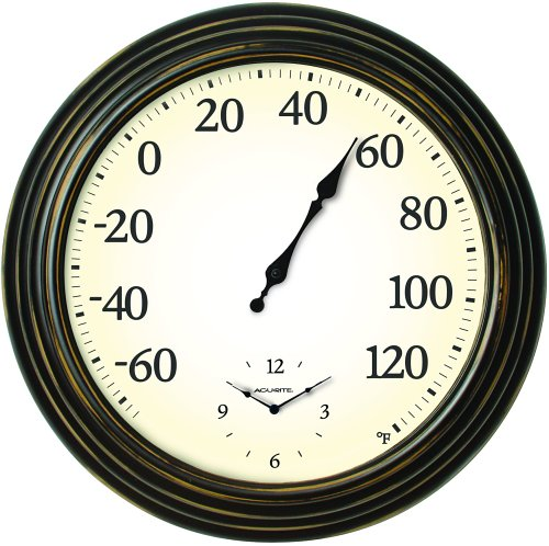 Chaney Instrument 16-Inch Thermometer and Clock Combo