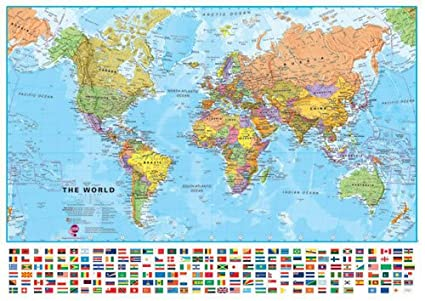 Large World Map Framed Large World Political Wall Map