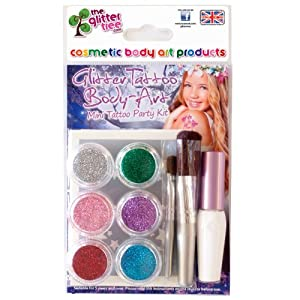 Girls Glitter Tattoo Kit - 24 Stencil Pack - 6 Glitters + Brushes & Glue