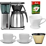 Bonavita BV1800TH 8 Cup Coffee Maker With Thermal Carafe + Porcelain Coffee Filter Cone Size 4 + Two 13 Oz White Tiara Cappuccino Cups + Paper Coffee Filter + #4 Cone Permanent Coffee Filter