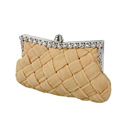 BMC Womens Evening Elegant Jeweled Rhinestone Pleated Cocktail Party Handbag-NUDE CREME