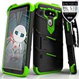 Zizo Bolt Armor Holster Kickstand Clip Case with 9H Tempered Glass Screen Protector for LG G5 - Black / Neon Green