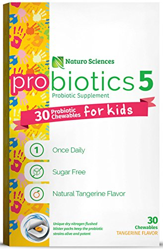 Naturo Sciences, Childrens Chewable Probiotic, Kids Digestive Immune Defense Probiotics, Nitrogen Filled Blister Packs for Best Product Freshness, 30 Once Daily Sugar Free Natural Tangerine Favor (Probiotic Organic compare prices)