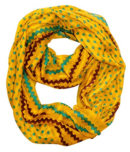Peach-Couture-Chic-Polka-Dot-And-Chevron-Sheer-Infinity-Loop-Scarf-Yellow