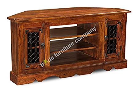 Cheap  Jali Sheesham Furniture Corner TV Unit