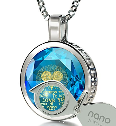 925 Sterling Silver I Love You Necklace Inscribed in 120 Languages in 24k Gold on Blue Cubic Zirconia Pendant, 18