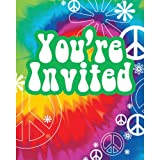 Creative Converting Tie Dye Fun 8 Count Party Invitations