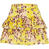 T24. RIVER ISLAND FLORAL TIERED MINI SKIRT Yellow Sz 8 10 RRP £22