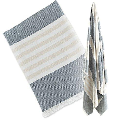 Lulujo Baby Turkish Towel, Navy and Oatmeal
