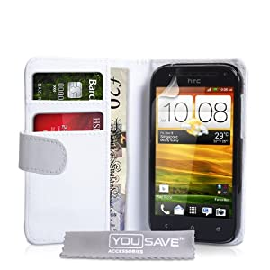 HTC One SV Case HTC One SV PU Leather Wallet Cover (White)