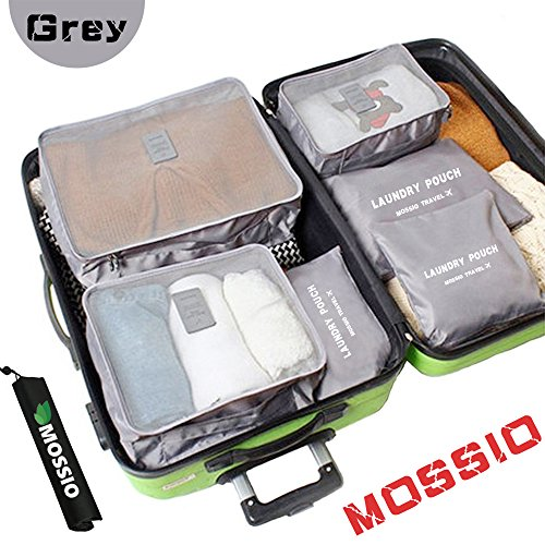 Luggage Organizers,Mossio 7 Piece Travel Packing Bags Luggage Organizer Suitcase Portable Case Storage Organizer Grey