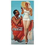 Coke Man & Woman Beach Tin Sign 9 x 16in