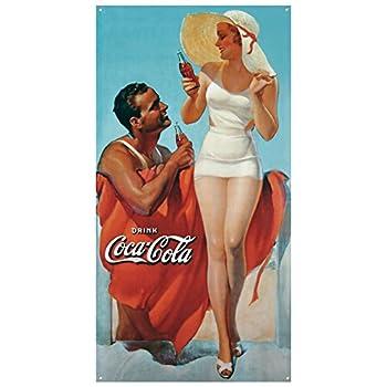 Coke Man & Woman Beach Tin Sign 9 x 16in