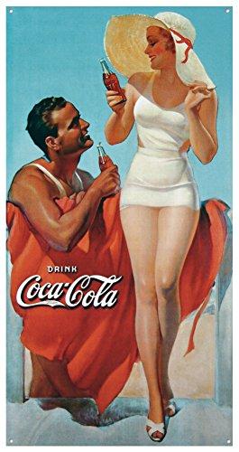 Coke Man & Woman Beach Tin Sign 9 x 16in 0