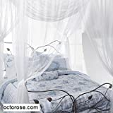 Cream 4 Poster / Four Corner Cream Bed Canopy Functional Mosquito Net Full Queen King