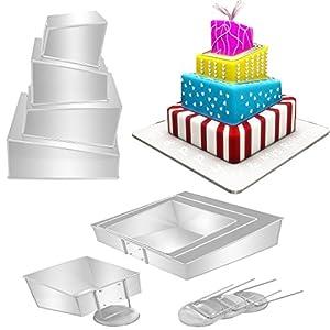 Pans Mini Topsy Turvy Square 4 Tier Wedding Cake Pan Cake Tin Set