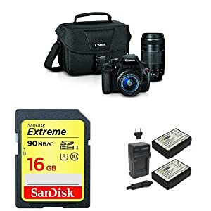 Canon EOS Rebel T5 Digital SLR Camera with EF-S 18-55mm IS II + EF 75-300mm f/4-5.6 III Bundle + Memory Card and Battery