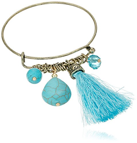 Cara-Wire-Bangle-with-Tassel-Turquoise-Charm-Bracelet