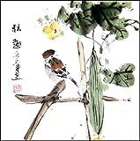 Traditional Chinese Art / Chinese Fine Art: Original Chinese Brush Painting - Bird & Cucumber