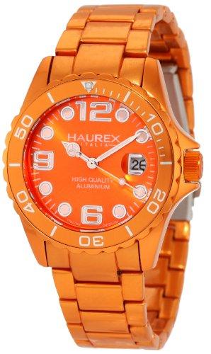 Haurex Italy Ink - Reloj analógico de mujer de cuarzo con correa de aluminio naranja